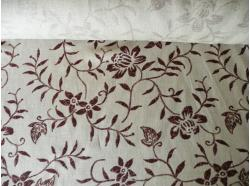 Tkanina 100 % Len dekoracyjna Kwiaty Brąz k.112