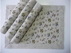 Podkładki pod talerz LEN- niebieskie Kwiatki