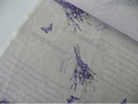 Tkanina dekoracyjna Lawenda na lnianym tle
