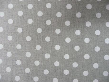 Len dekoracyjny Kropki białe k.51