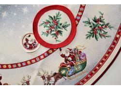 Obrus Gobelinowy Okrągły Mikołaj na saniach