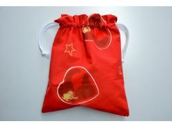 Woreczek Świąteczne Serca Czerwony