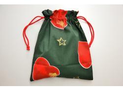 Woreczek Świąteczne Serca Zielony