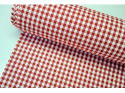 Bawełniana drobna krateczka Biało/czerwona