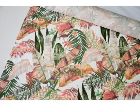 Len odzieżowy / dekor. Tropical Leaves