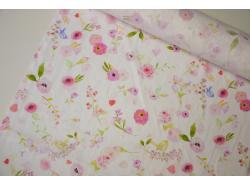 Len odzieżowy / pościelowy Różany obrazek