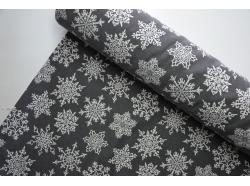Tkanina Gobelinowa GRAFIT Duże Śnieżynki