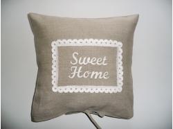 "Poszewka Lniana Beż ""Sweet Home """