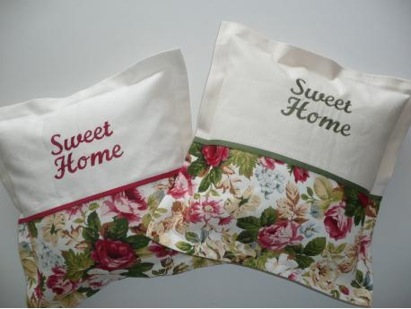 Poszewka Sweet Home - Róże -zielony haft