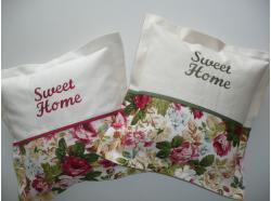 Poszewka Sweet Home - Róże -bordowy haft
