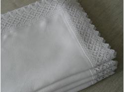 Bieżnik Lniany Biały  z koronką 45 x 140