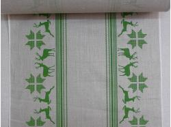 Tkanina Lniana  zielone Renifery k.110