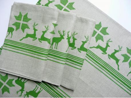 Ścierka Lniana Zielone Renifery