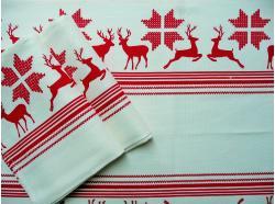 Ścierka Biała Len/Bawełna Czerwone Renifery