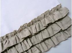 Bieżnik Lniany Biały  z falbankami 45 x 140