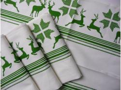 Ścierka Biała Len/Bawełna Zielone Renifery